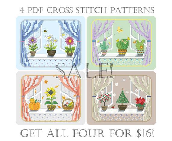 SALE Seasonal Windows PDF cross stitch patterns от LittleRoomInTheAttic