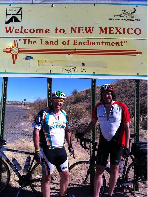 Tom Vossman and I at the New Mexico state line.