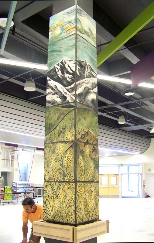 In 2014 Natalie Blake Studios was awarded a public art grant to create sculptural wall tile for 10 columns in a high school cafeteria in Anchorage, Alaska. The art committee requested that the commiss