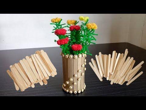 How To Make Ice Cream Stick Flower Vase Ice Cream Stick Craft