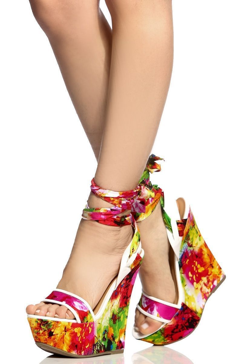 06d48f4058fb White Faux Leather Floral Print Wrap Around Wedges   Cicihot Wedges Shoes  Store Wedge Shoes