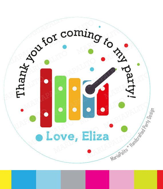 Music stickers musical party personalized inspired printed round stickers tags labels or envelope seals xylophone stickers a1295 envelopes