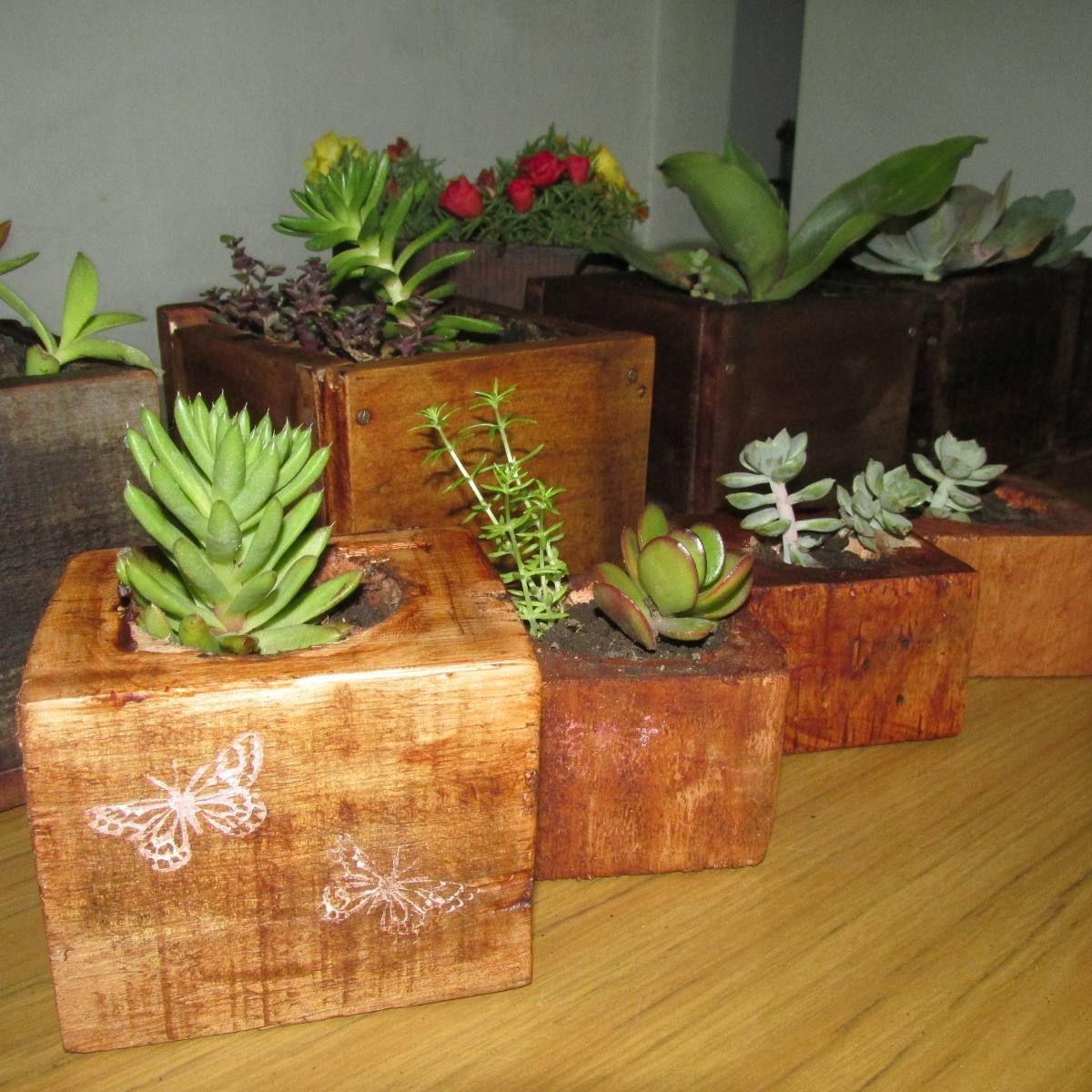 Tacos de madera reciclada con cactus y sucus 35 00 - Macetas de madera ...