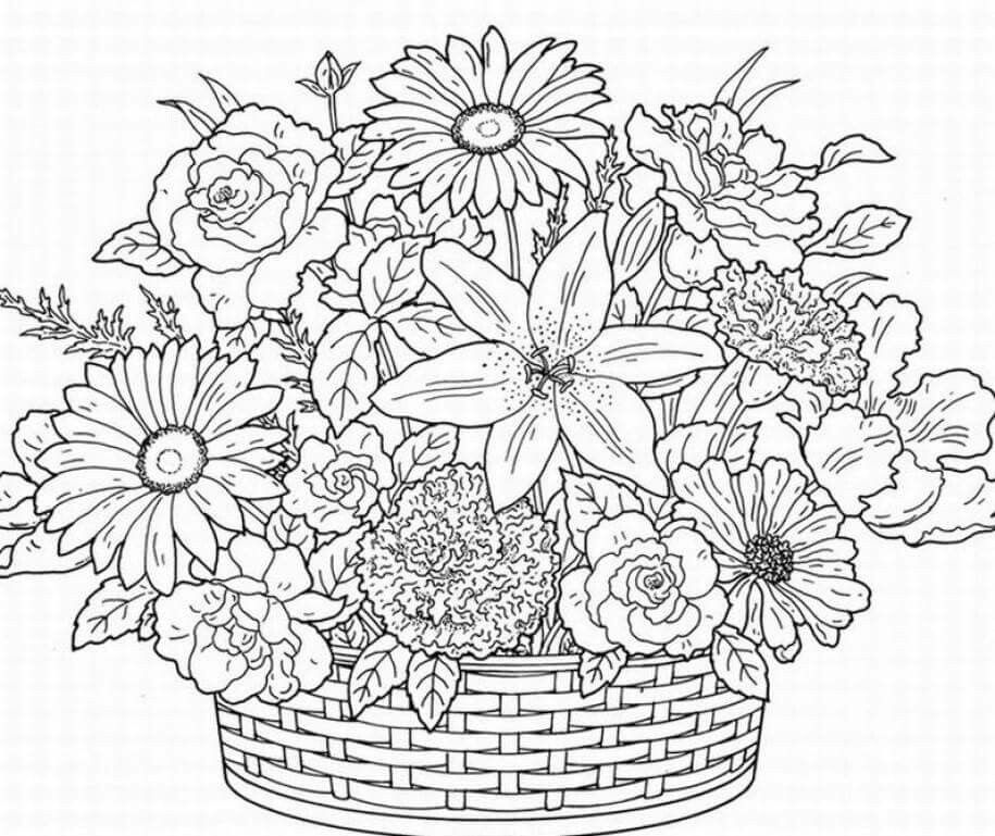 Flower basket coloring pages 2 Printable adult