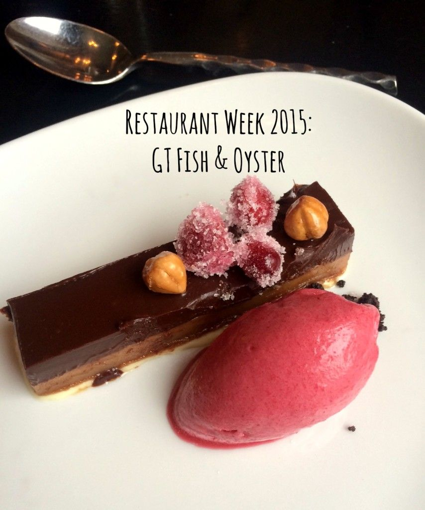 Chicago Restaurant Week 2015: GT Fish & Oyster. Chocolate and praline ganache with cranberry sorbet