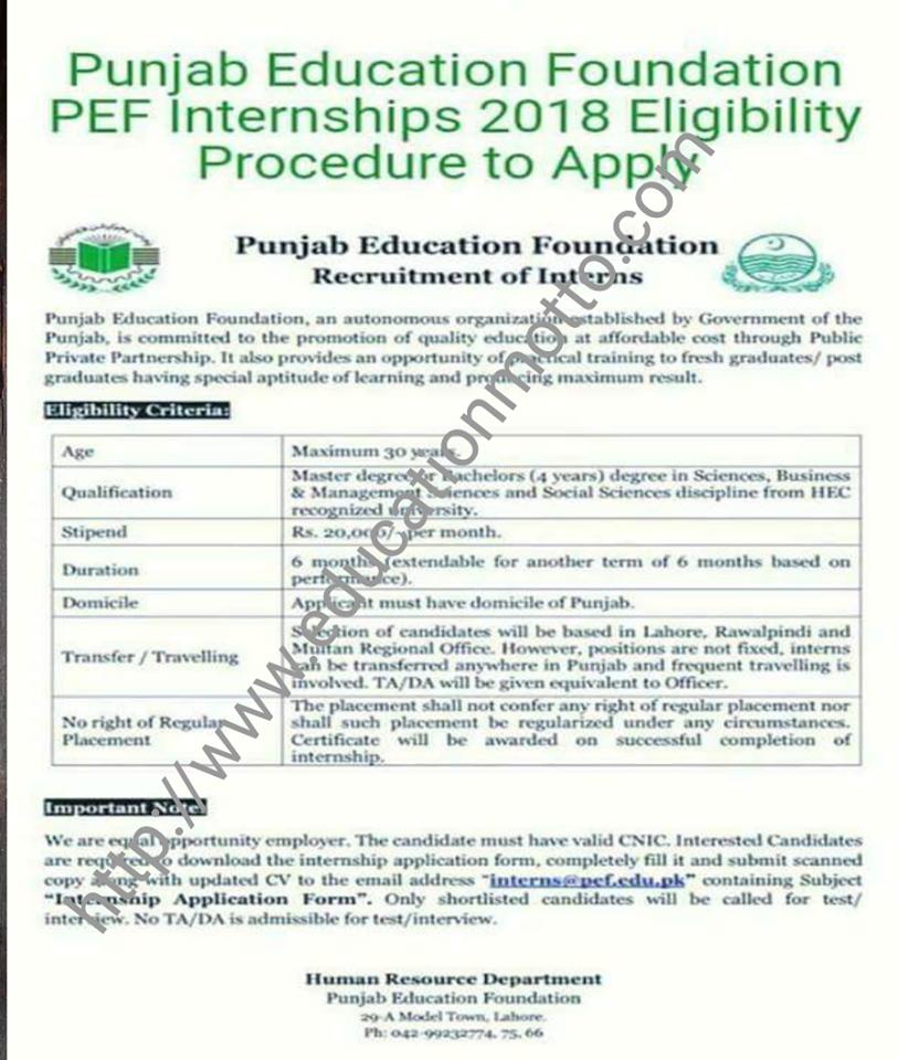 Pef Punjab Education Foundation Internship 2018 Eligibility