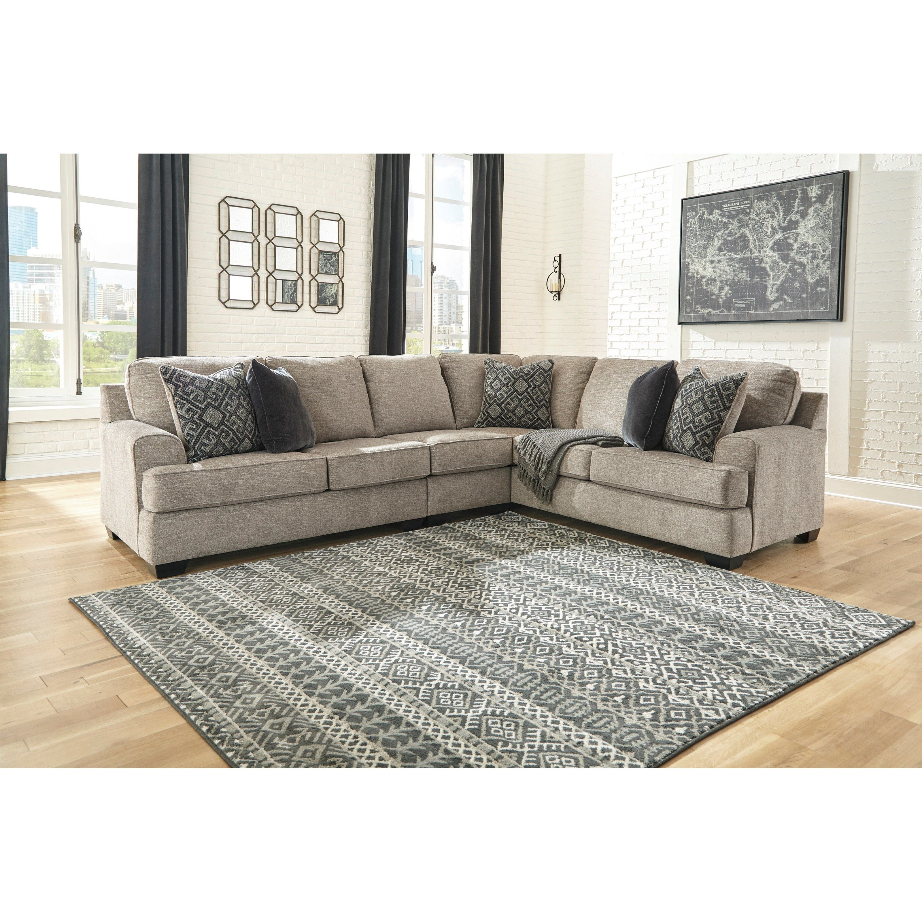 Bovarian Three Piece Sectional With Track Arms By Signature Design