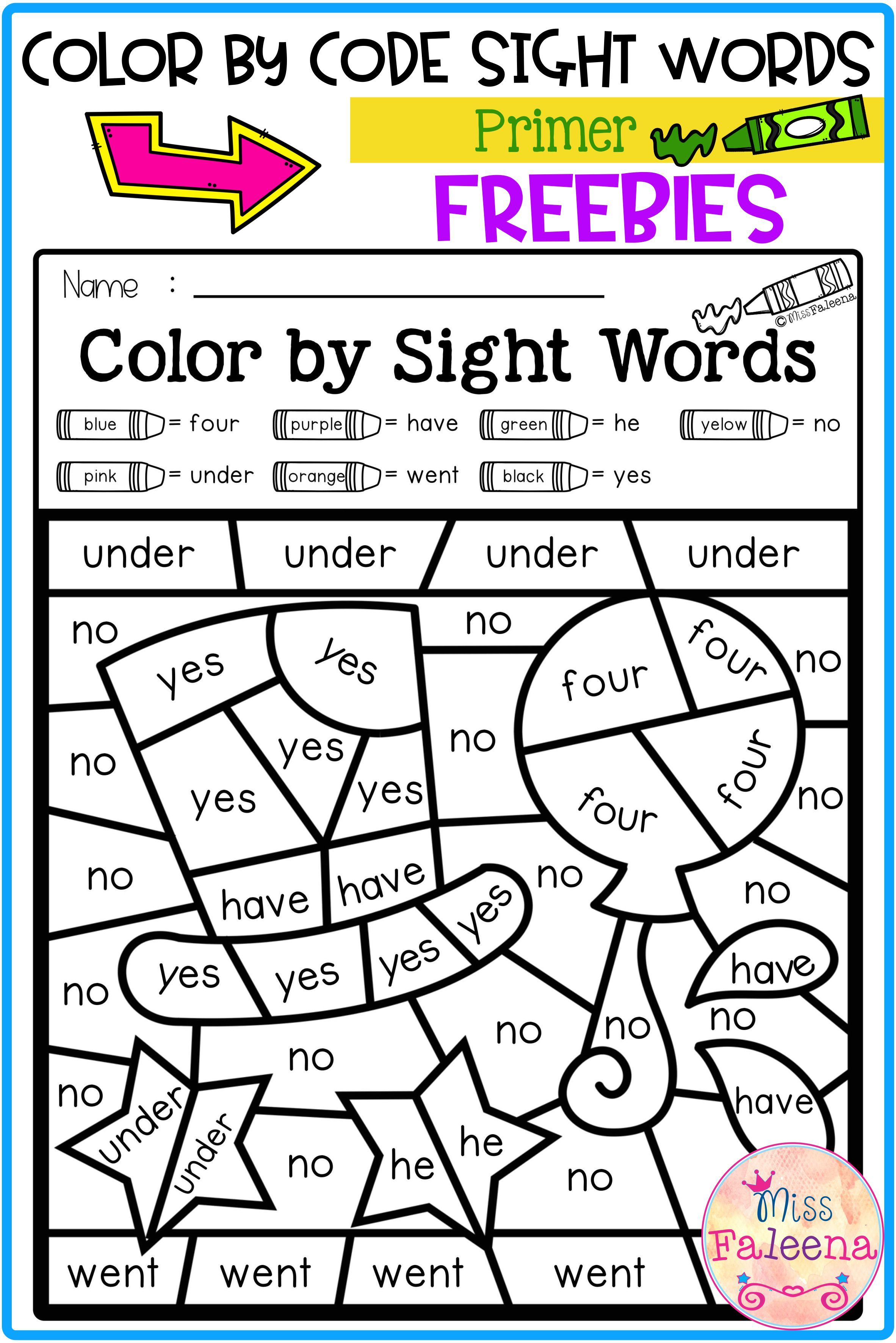Free Color By Code Sight Words Primer In