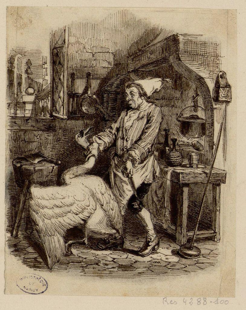 Le cygne et le cuisinier grandville fables de la for Cuisinier nancy