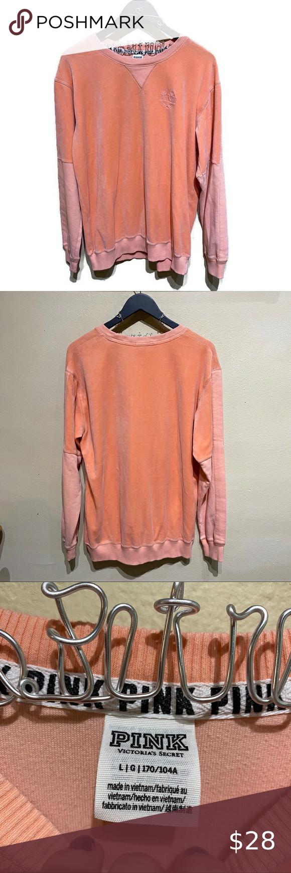 Vs Pink Peach Velvet Velour Crewneck Sweatshirt Victoria Secret Pink Peach Velvet Velour Crewneck Sweatshir Crew Neck Sweatshirt Sweatshirts Oversized Pullover [ 1740 x 580 Pixel ]