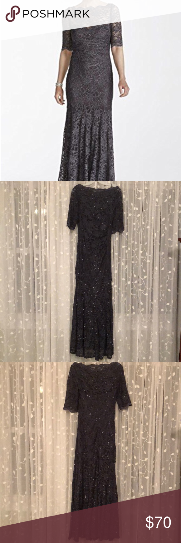 43f4d82278fe Charcoal gray Nightway glitter lace mermaid gown Size 14 Nightway stretch glitter  lace gown. Great