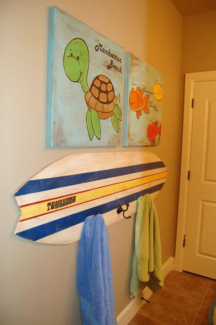 I Am Momma Hear Me Roar Towel Rack Surfboard Perfect For A Nautical Kid S Bathroom