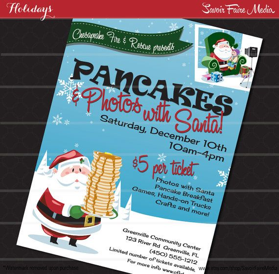 Pancake Breakfast With Santa Flyer  Photos With Santa Clause