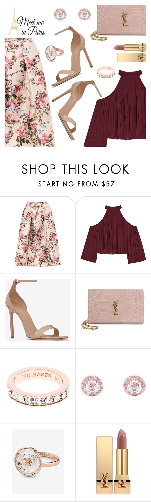 """""""Meet me in Paris"""" by dressedbyrose ❤ liked on Polyvore featuring Ted Baker, W118 by Walter Baker, Yves Saint Laurent, Brewster Home Fashions, chic, paris, ootd and polyvoreeditorial"""