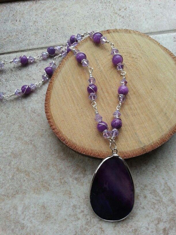 Swarovski  Crystal  Purple Wire Wrapped Necklace
