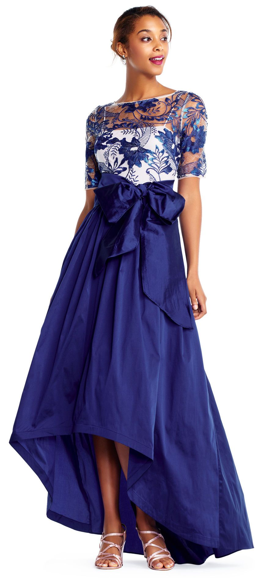 Adrianna papell three quarter sleeve high low gown with floral
