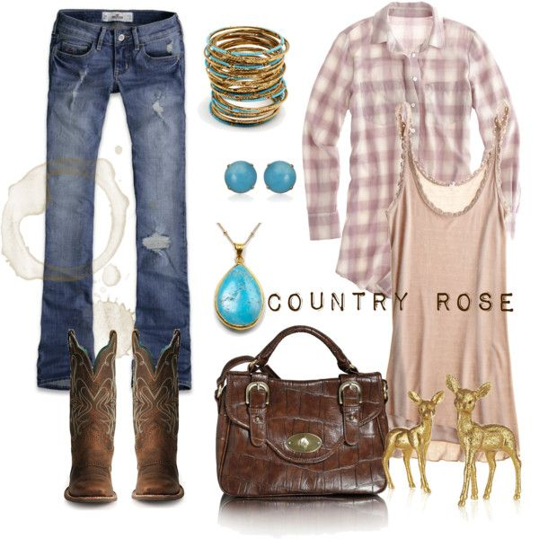 Outfitt has the western boots, turquoise, plaid shirt, brown purse, and deer!  What could be cutier than baby deer?!!!
