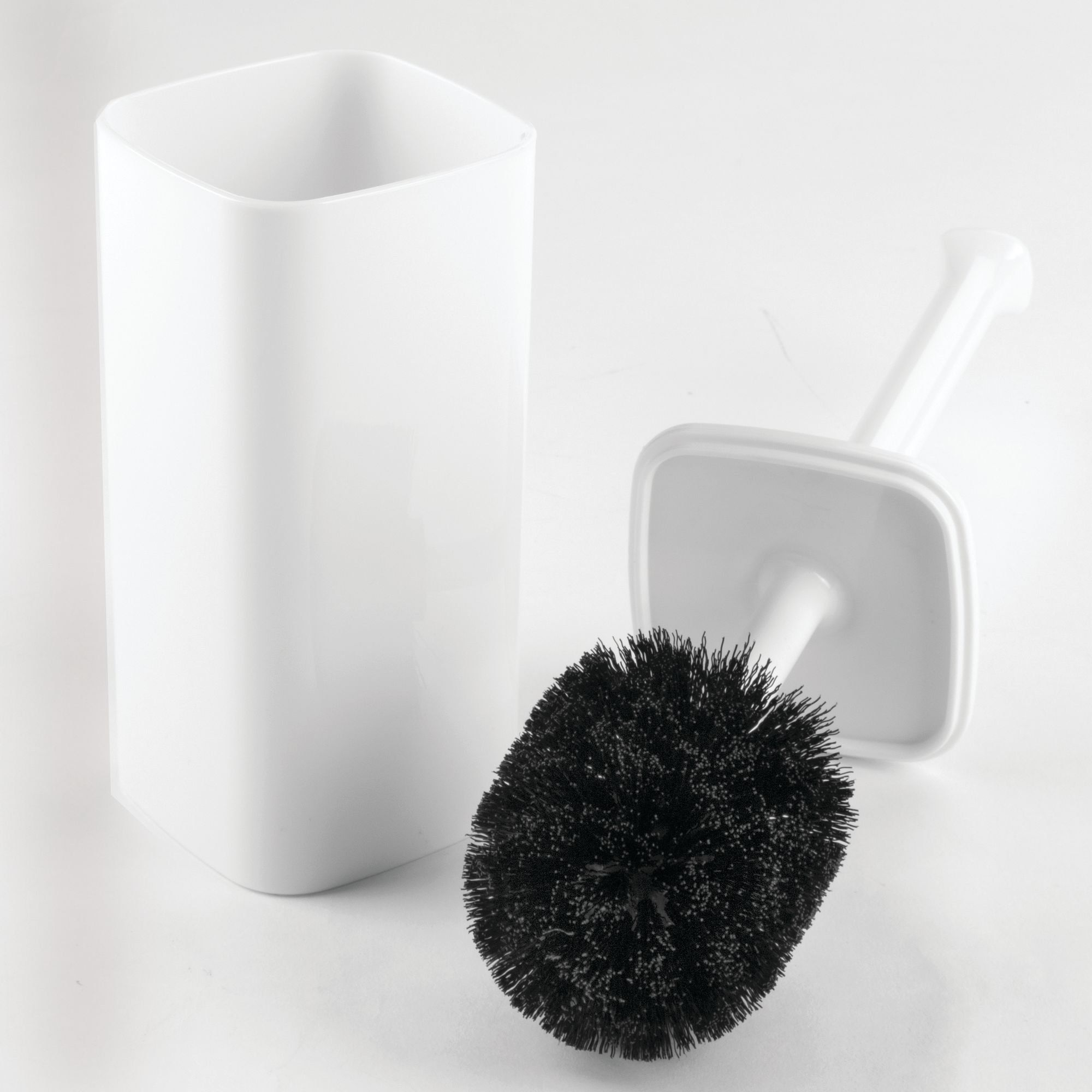 Covered Brush White 2 Pack Deep Cleaning mDesign Compact Freestanding Plastic Toilet Bowl Brush and Holder for Bathroom Storage and Organization Sturdy Space Saving