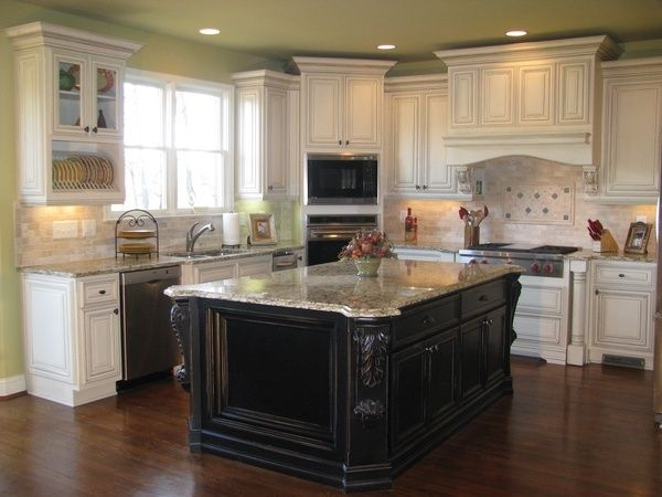 White ish cabinets green walls dark island cabinets for Kitchen cabinets 4 less