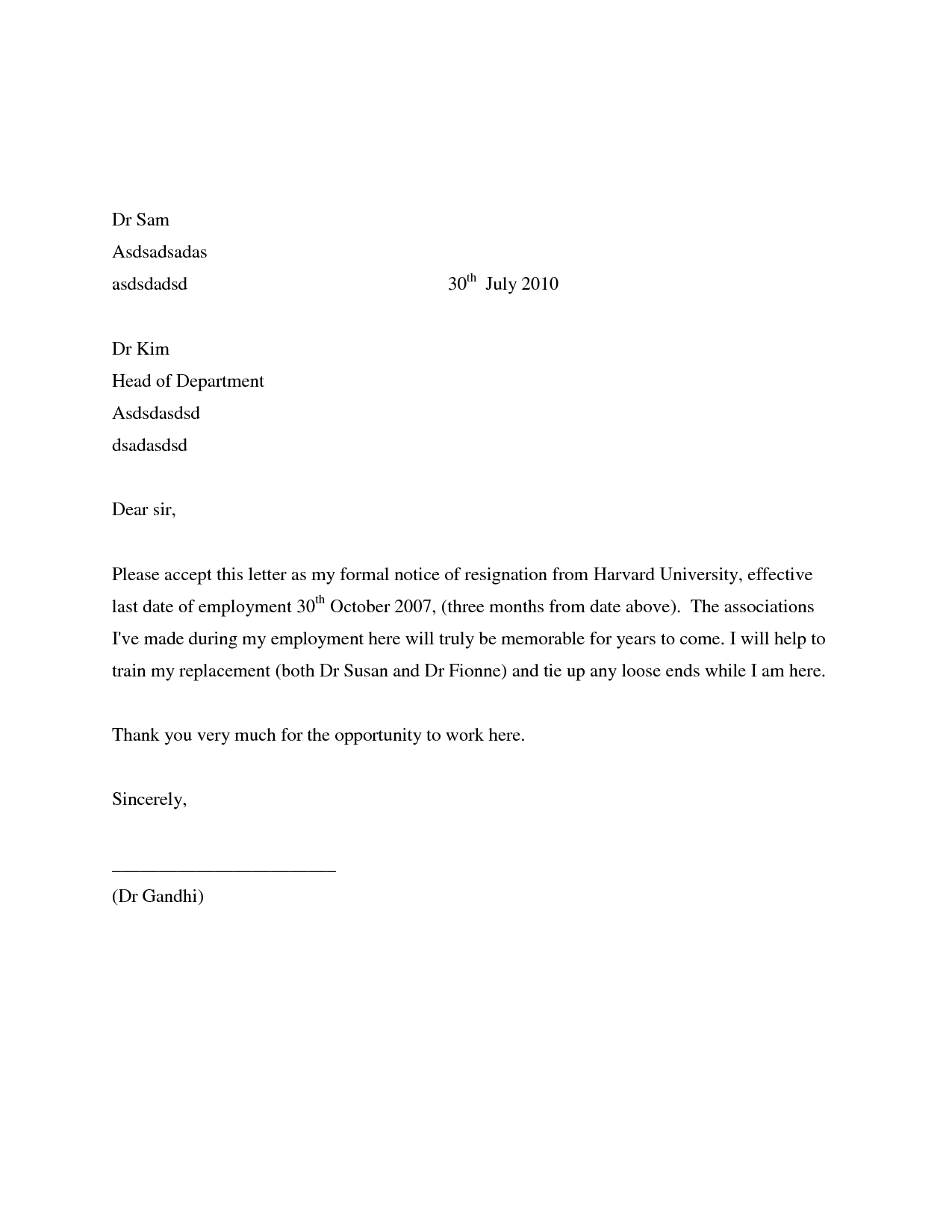 Simple Resignation Letters Examples SeeabruzzoWriting A Letter Of