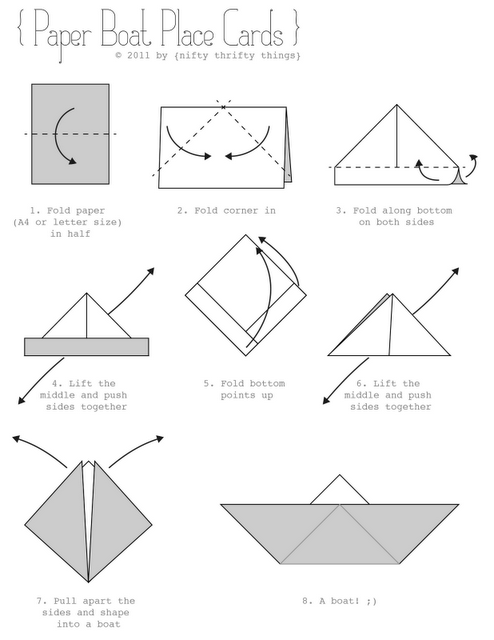 BOAT-INSTRUCTIONS | Make a paper boat, Origami boat ... |Paper Boat Instructions