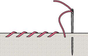 LAAKAPISTO: ommellaan kankaan reunan yli viistoja pistoja.