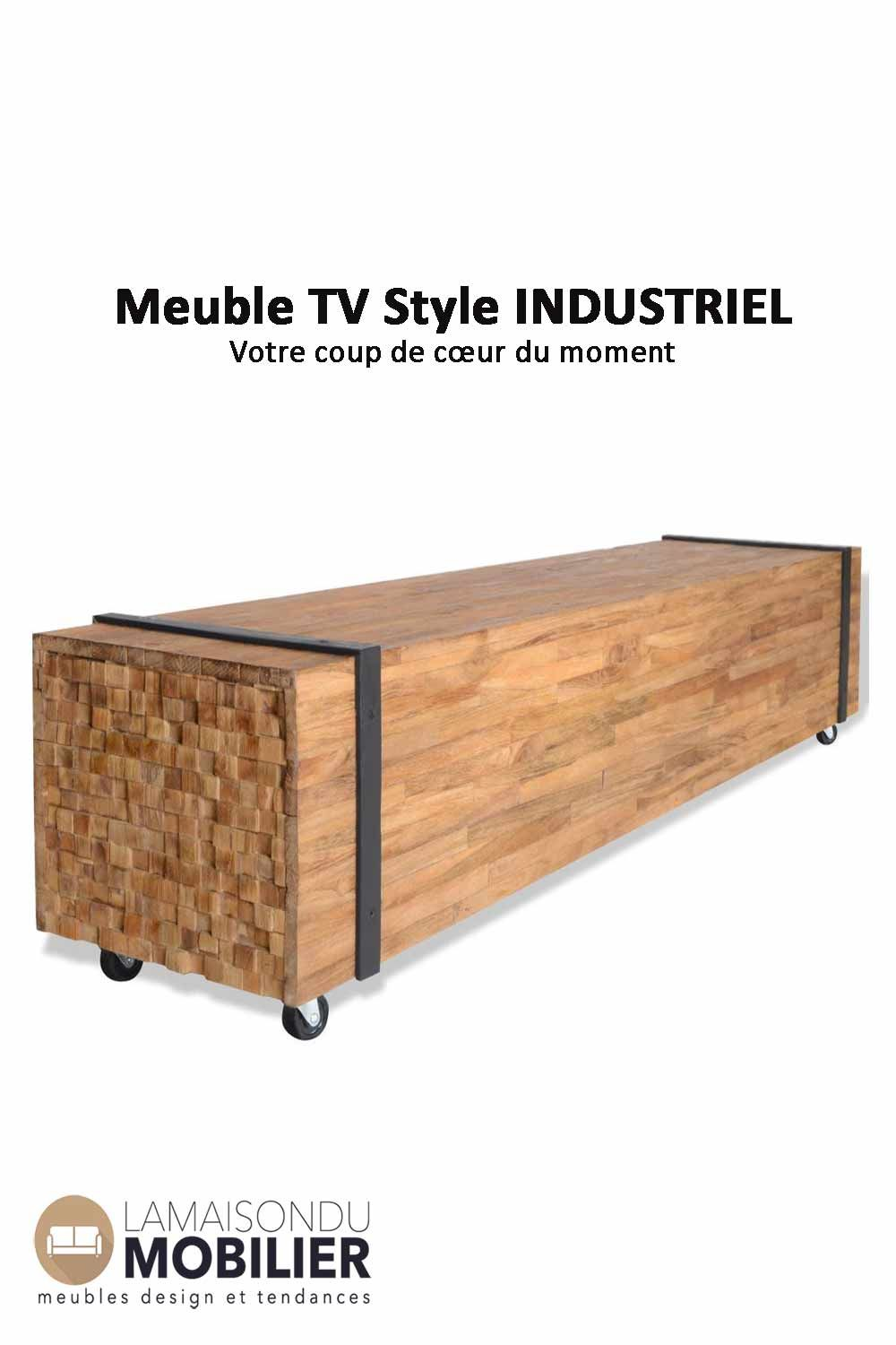 Meuble Tv Table Basse En Teck 150 Cm Table Basse Teck Meuble Tv Style Industriel Meuble Tv