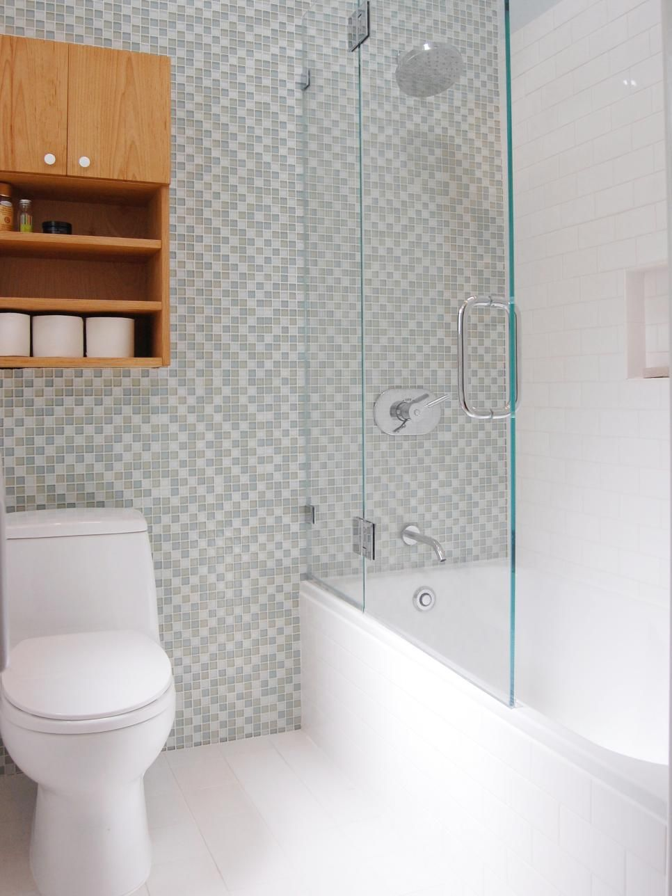 Modern Bathroom With Neutral Wall Tiles and Glass Shower