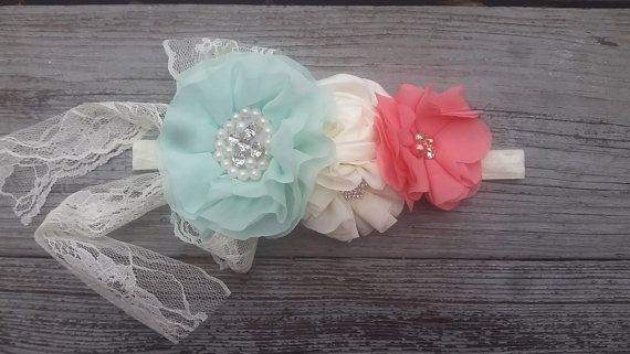 Shabby Chic Lace Girls Headband Rustic by CountryCoutureCo on Etsy