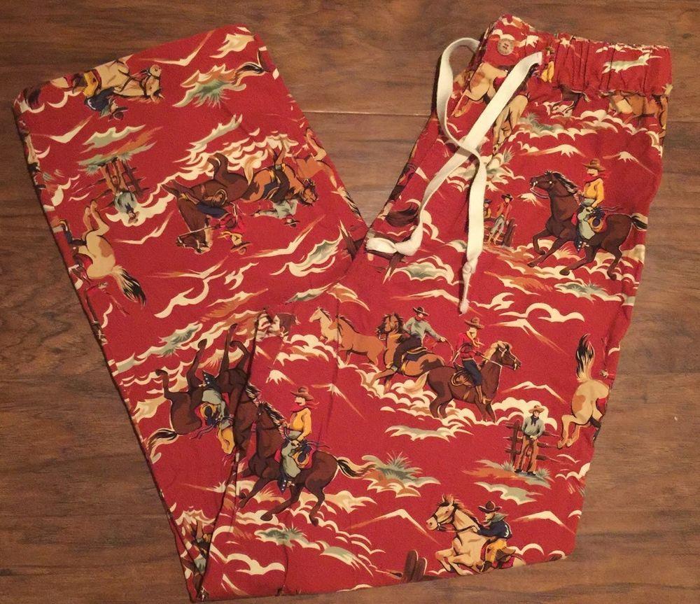 Mens Pajama Pants Western Cowboy by Texas Star Sz 32 34 New | eBay