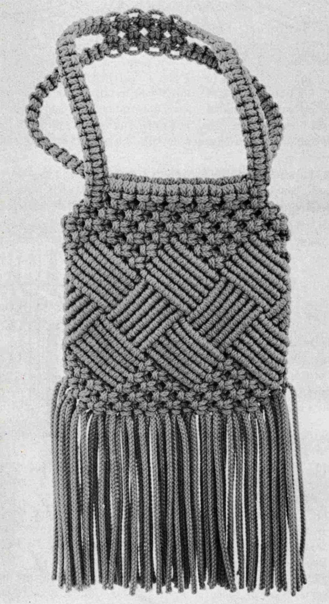Macrame Shoulder Bag … Macrame Handbag and Key Ring … Ladies Accessories … Vintage PDF Pattern … Ladies Purse … Digital Download