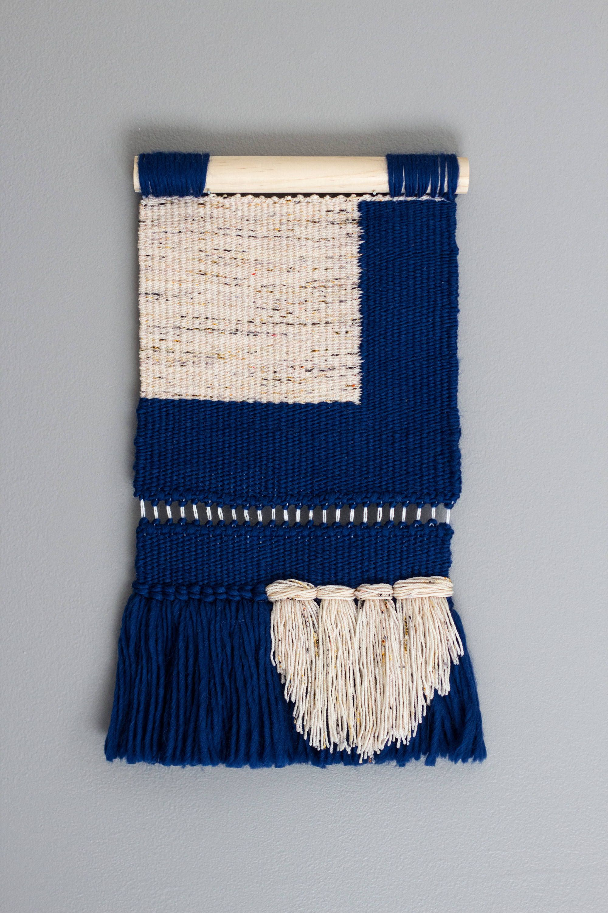 Woven Wall Hanging Modern Tapestry Blue Color Block Tapestry Woven Wall Hanging Modern Tapestries Hand Weaving