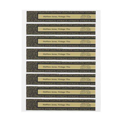 Th Birthday Theme GoldBlack Return Address Wrap Around Label