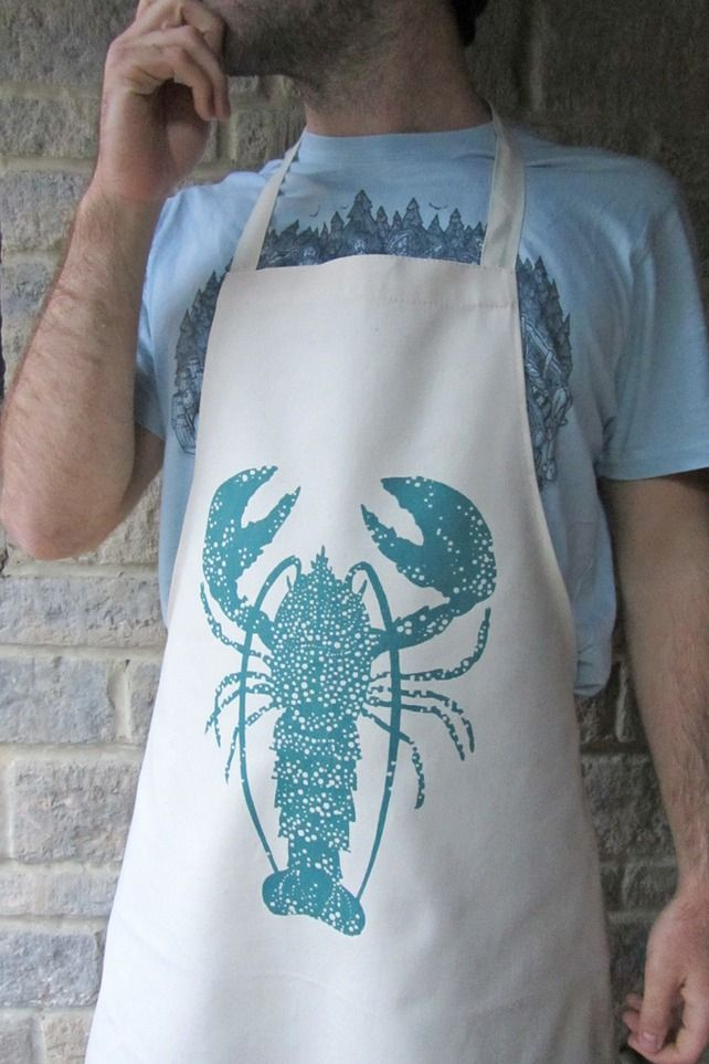 Lobster Apron, screen printed & made in the UK £18.50 #joescrabshack