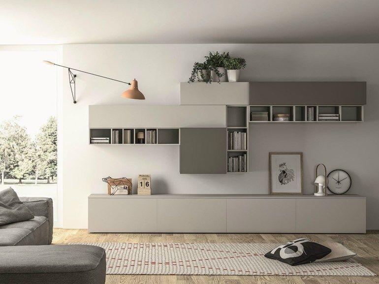 Mueble modular de pared composable lacado SLIM 89 by Dallu0027Agnese - muebles de pared