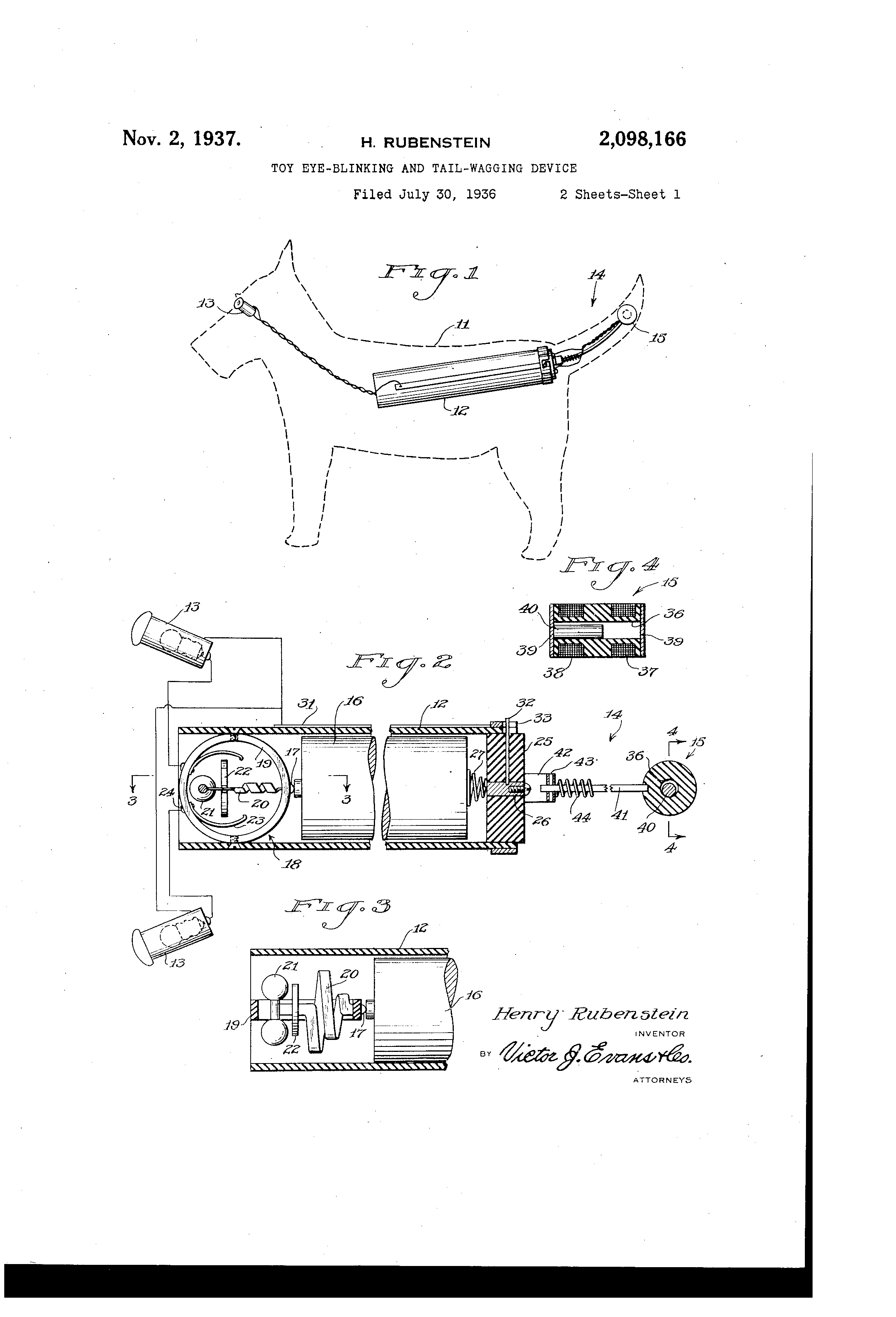 medium resolution of us2098166a toy eye blinking and tail wagging device google patents