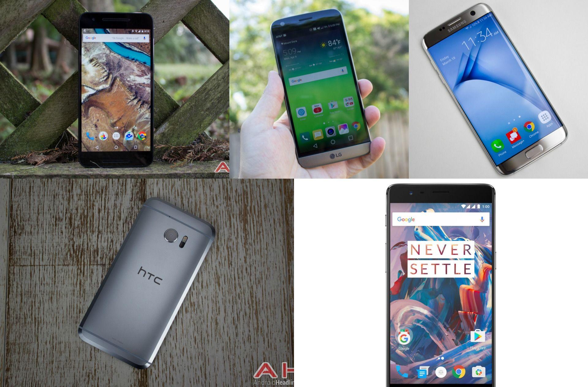 Phone Comparisons: Nexus 6P vs LG G5 vs Galaxy S7 Edge vs HTC 10 vs OnePlus 3 #Android #CES2016 #Google