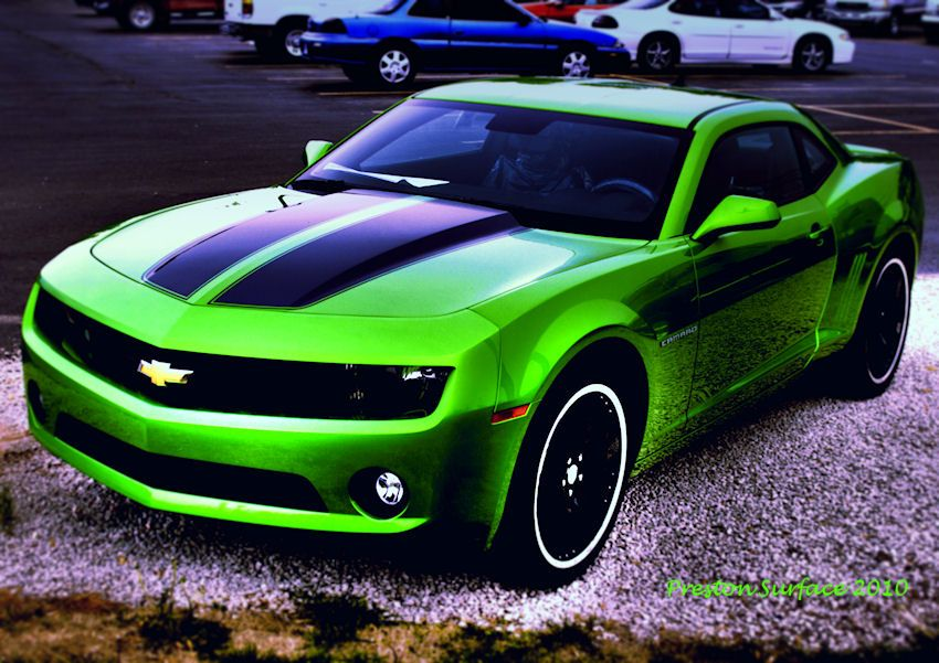 Someday I Will Have A Lime Green Camaro With Black Racing Stripes Someday Green Camaro Pretty Cars Cars Motorcycles Cat