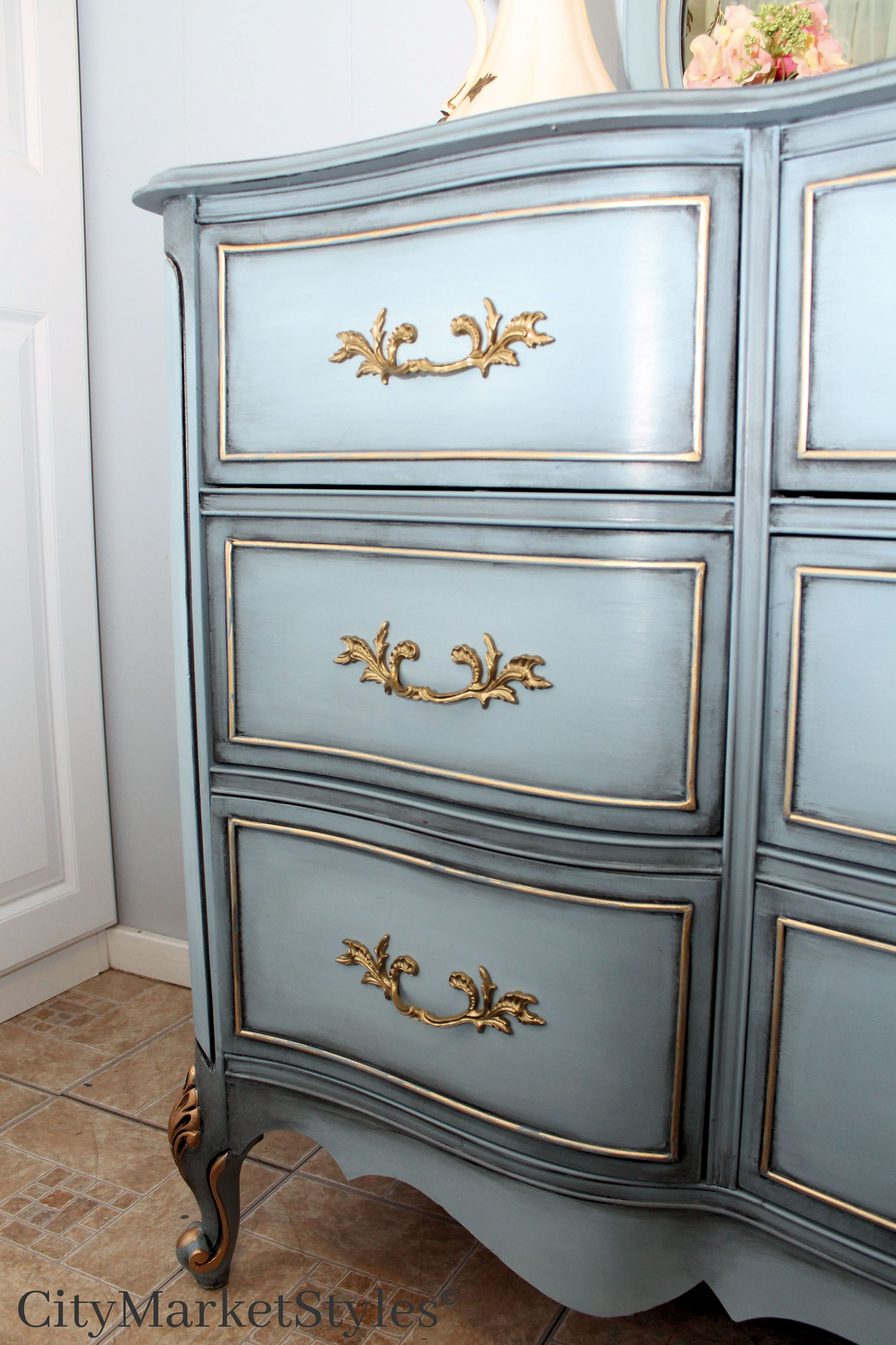 Painted French Provincial Dresser In Stormy Cove With Dark Glaze
