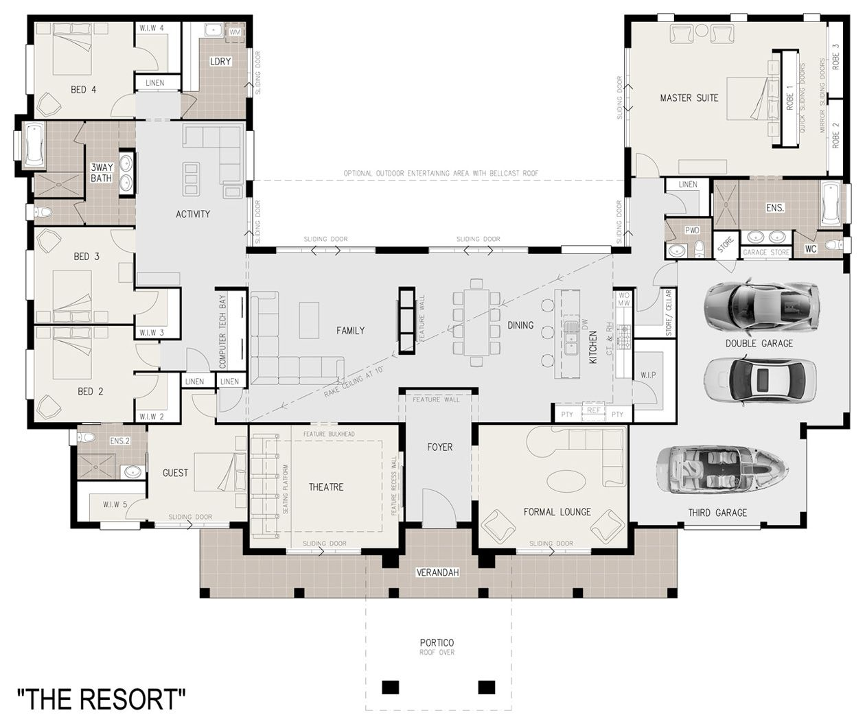 House plan with furniture - Floor Plan Furniture Floor Coverings And Landscaping Not Included