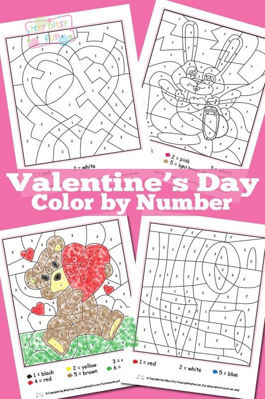 Valentines Day Color By Numbers Worksheets | Valentine ...