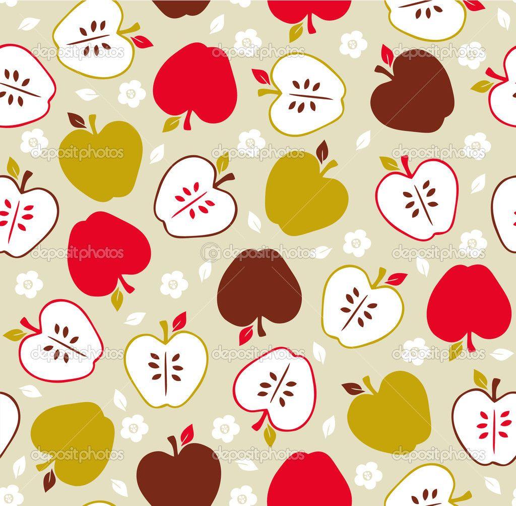 Seamless cute retro apple pattern — Stock Vector #23205562 ...