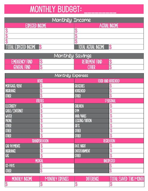 Free Printable Monthly Budget Worksheet | Journal Craft | Pinterest