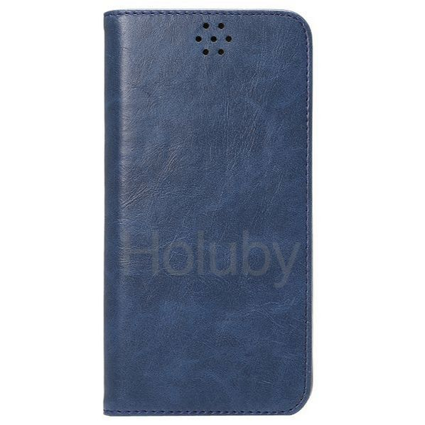 Automatische Absaugung Verrücktes Muster-Halter-Standplatz-TPU   PU-Leder Tasche für iPhone 6 Plus 6S Plus-Dunkelblau
