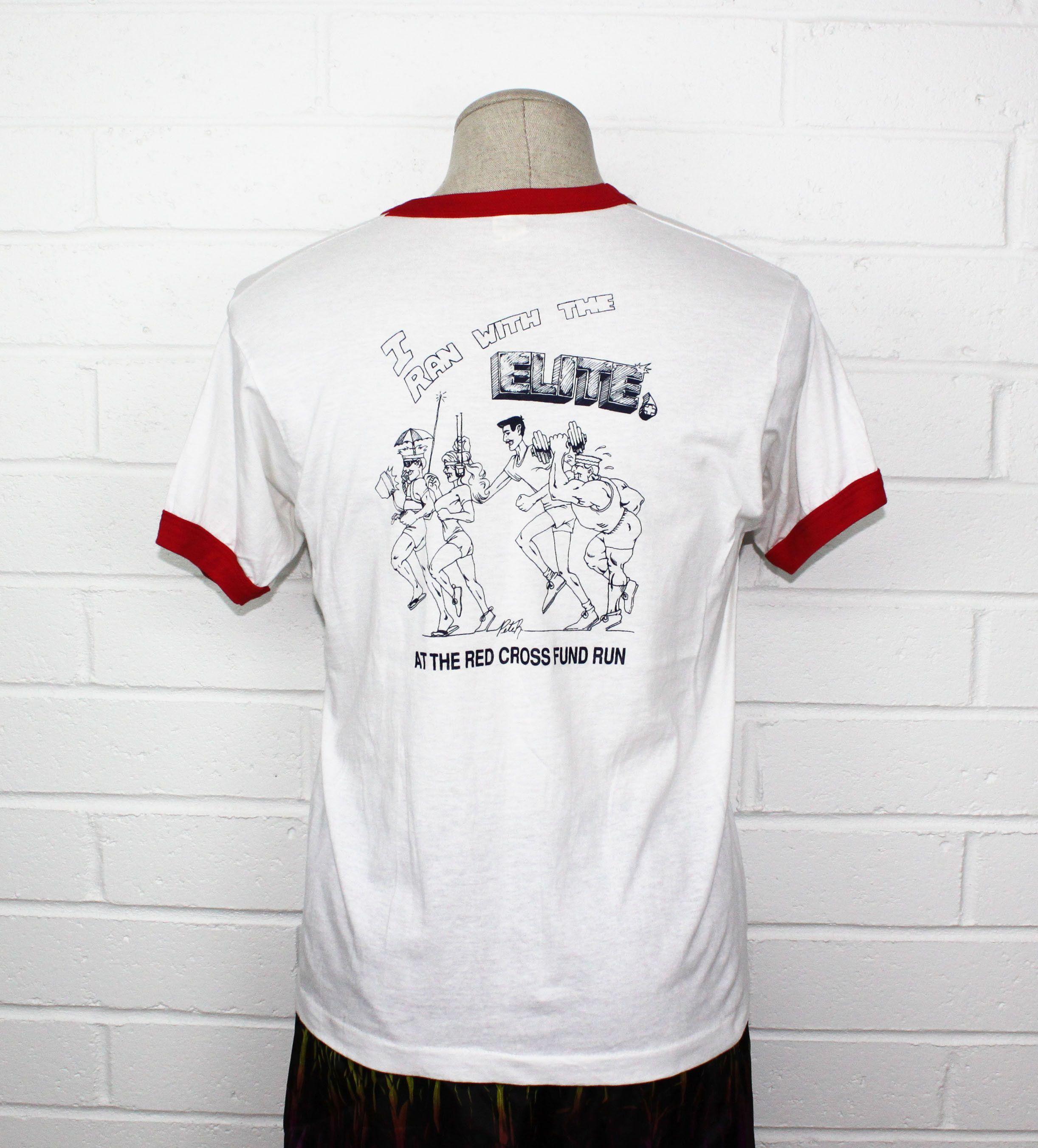 Vintage 80s 1980s Red Ringer Shirt marathon Red Cross Run