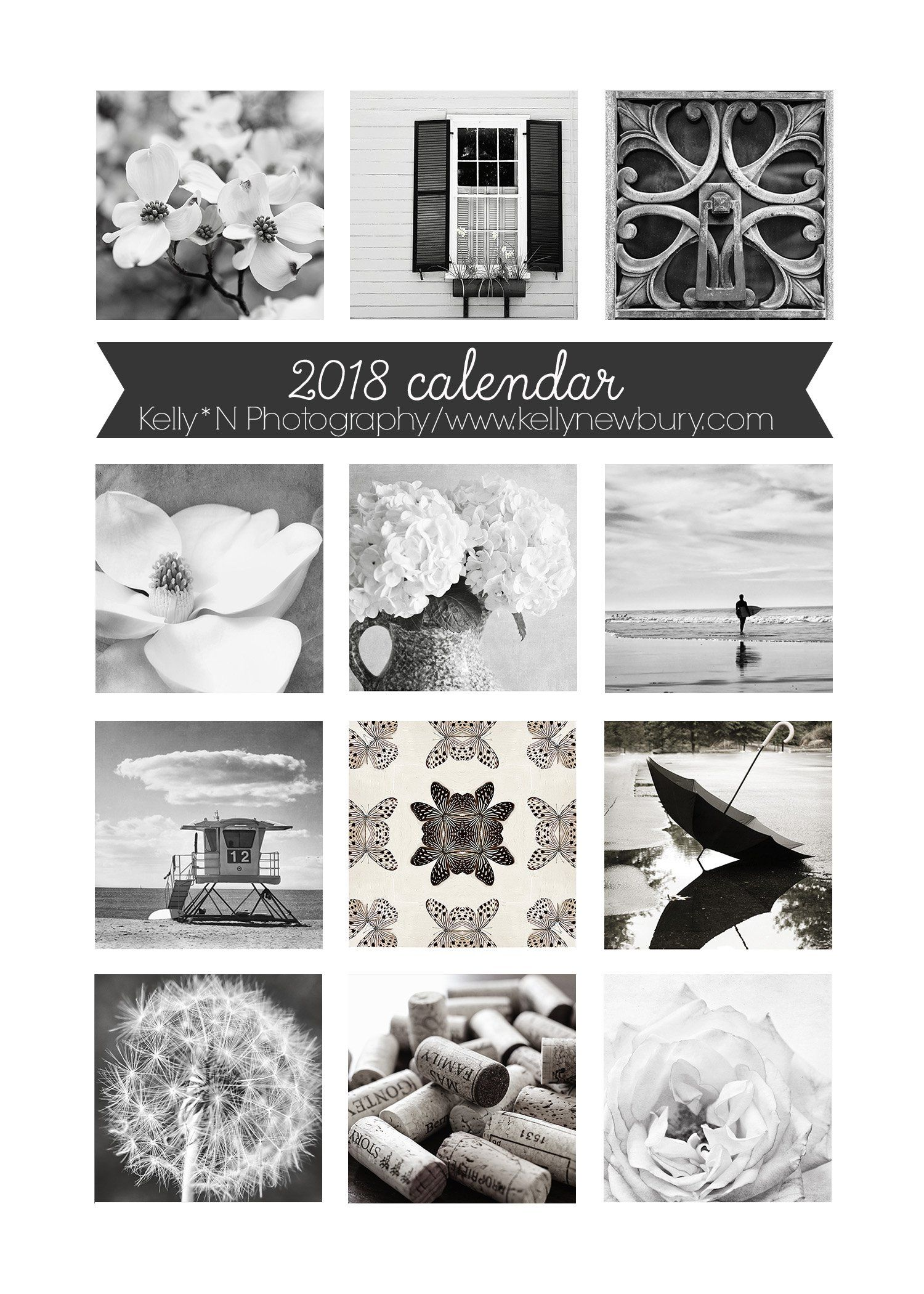 2018 desktop photo calendar black and white