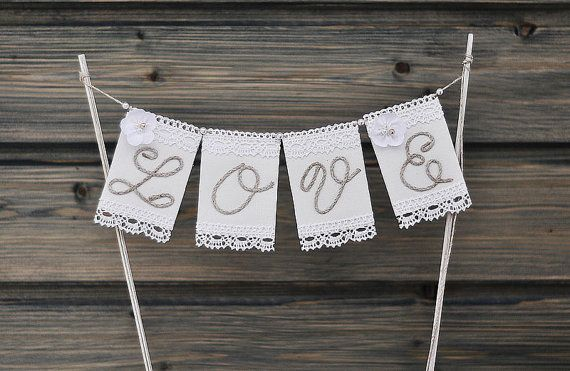 Wedding Cake Banner Cake Topper Love Cake by InesesWeddingGallery
