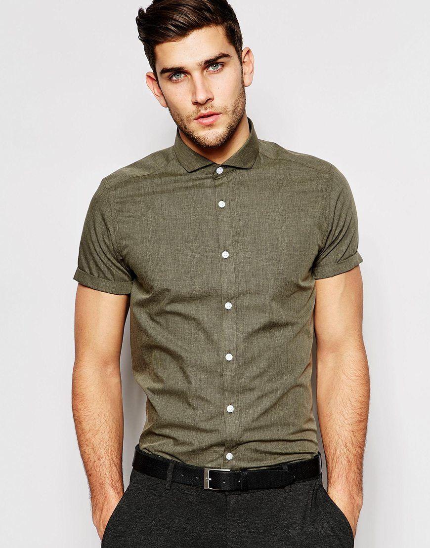 #4 Cita romántica: Camisa olivo + pantalón de vestir (JIMY)