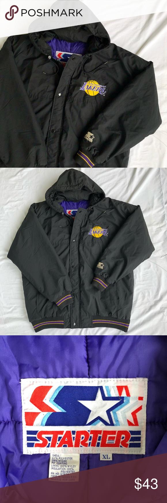 Vintage Starter Nba La Lakers Puffy Jacket Vintage Starter Nba Los Angeles Lakers Embroidered Spellout Logo Black Puffy Jac Puffy Jacket Jackets Clothes Design