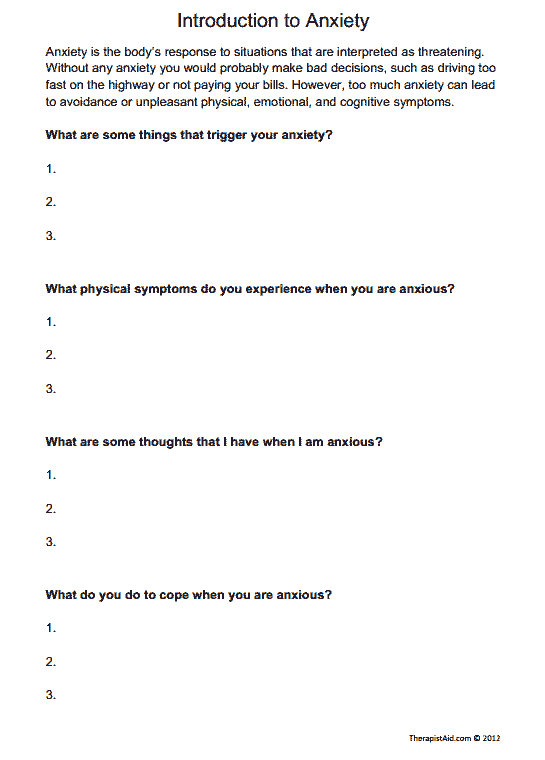 Introduction to Anxiety (Worksheet | counseling | Therapy worksheets ...